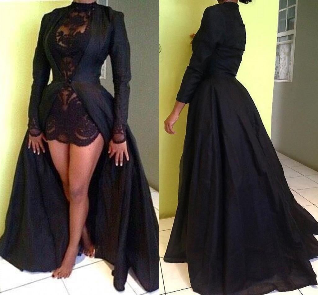 2018 горячие продажи черный оболочка кружева коктейльные платья со съемным поезд с длинными рукавами складки вечерние платья партии праздник платья клуб платье