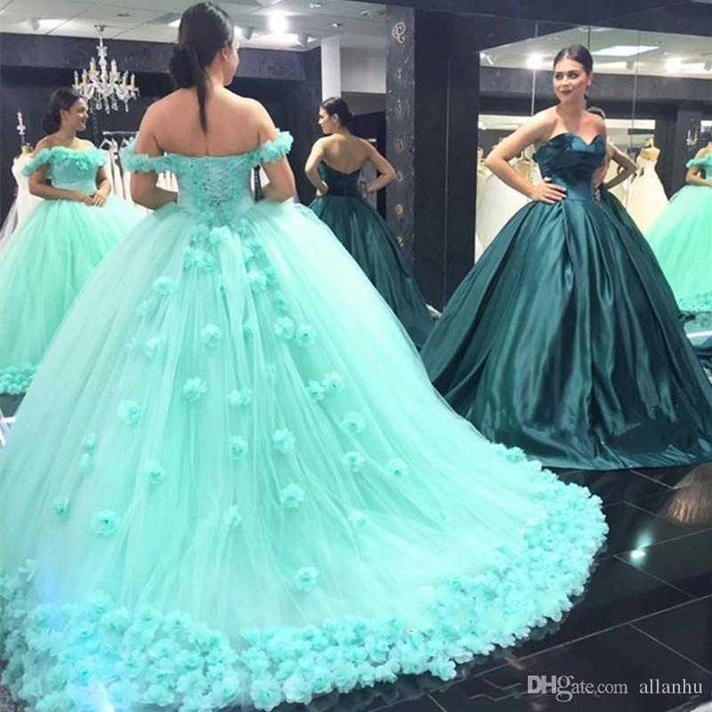 821da7da749 Luxury Mint Green Sweet 16 Ball Gown Quinceanera Dresses Off Shoulder Lace  Up Back Handmade Flowers Princess Quinceanera Prom Gowns Princess  Quinceanera ...