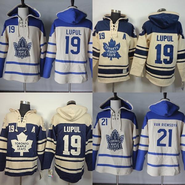 Hot Sale Mens Toronto Maple Leafs 19 Joffrey Lupul 21 James Van Riemsdyk  Beige Navy Best Quality Cheap Ice Hockey Hoodies 19 Joffrey Lupul Hoodies  21 James ... f4b9fa19b
