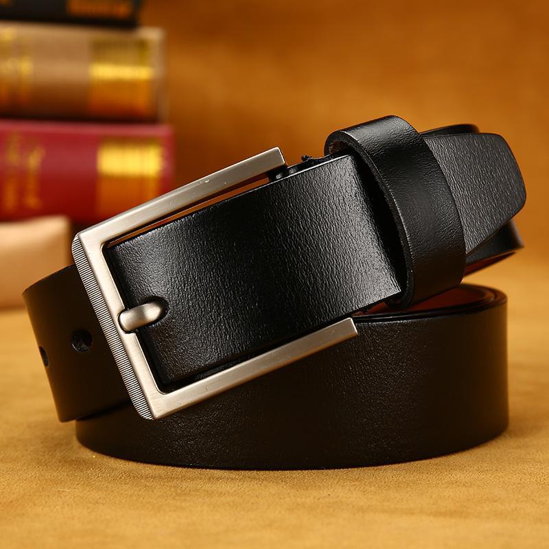 06cdcb5c780 Compre Correa De Cuero Para Hombre Cinturones De Cuero Genuino Para Hombres  Correa De Alta Calidad Cinturón De Hebilla Macho Pin Vintage Jeans 95 130  Cm A ...