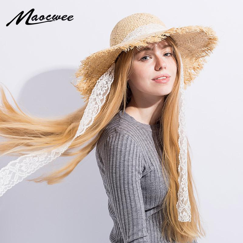 24725351486 Simple Fashion Women Summer Hats Large Raffia Straw Hat Lace Ribbon Lace Up Beach  Caps Fashion Ladies Panama Sun Hat For Girl Straw Cowboy Hats Sun Hats For  ...