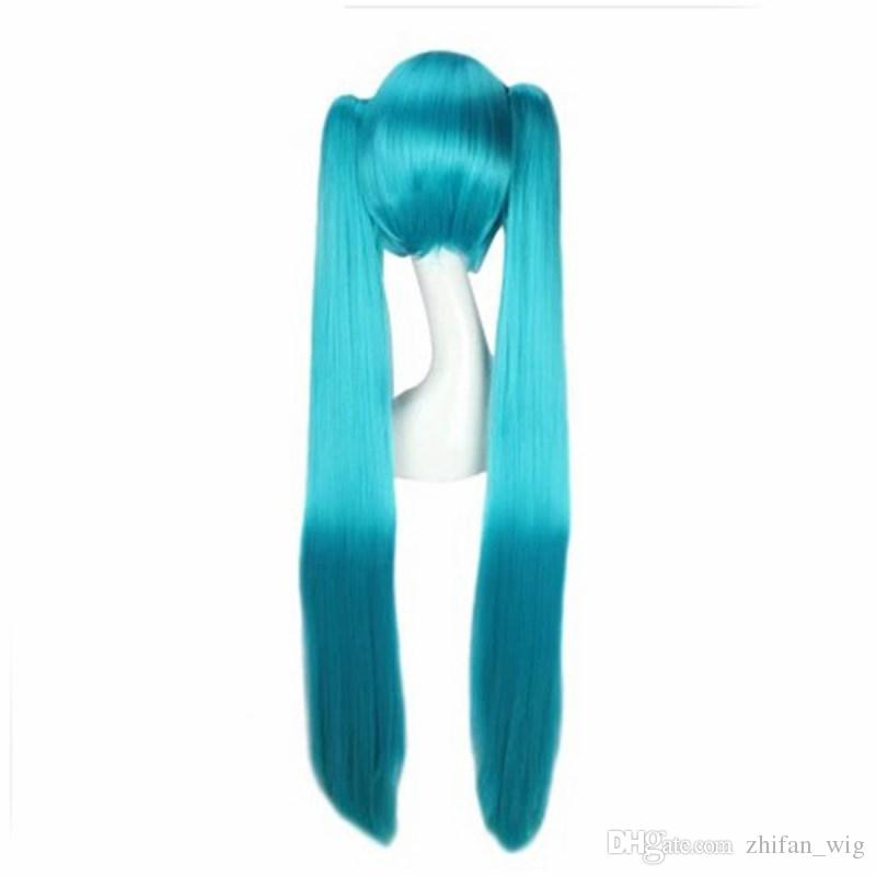 ZF Hatsune Miku perruque cosplay 120CM Bleu Couleurs Bouquets Twin Tail Lolita Costume Unisexe Home Party
