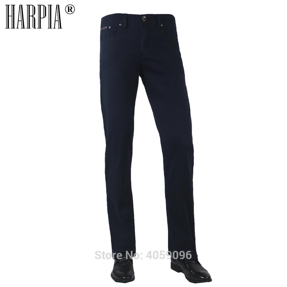 075181a838 Compre HARPIA Nuevos Hombres Pantalones Casual Algodón Avanzado Hombres  Pantalones Azul Oscuro Elástico Mediados De Cintura Pantalones Rectos Para  Hombre ...