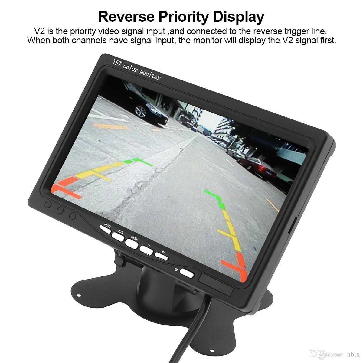 7 Inch TFT LCD Color Car Rear View Monitor 2 Video Input DVD VCD Headrest Vehicle Monitor CMO_30T
