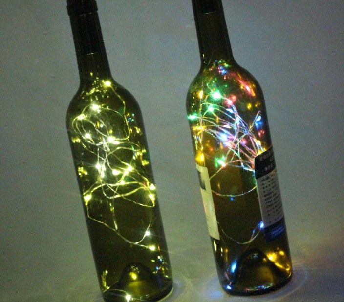 15 LED alimentado por batería chapado botella de vino tapón de cobre bricolaje corcho de luz cadena de tira de hadas noche lámpara al aire libre decoración del partido LLFA