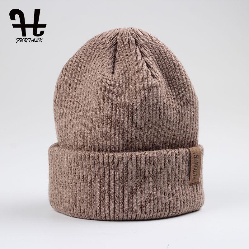 Furtalk Spring Autumn Woman Solid Acrylic Wool Knit Beanie Hat Cuff ... 46a65531e57