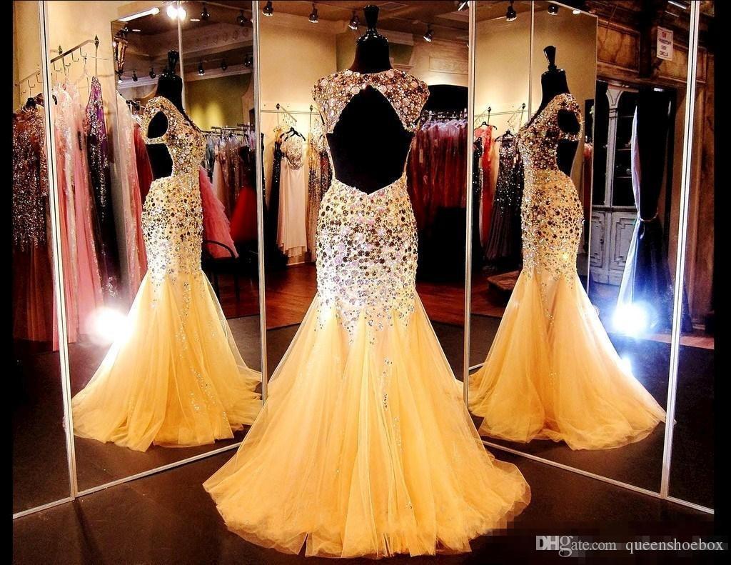 Glitz Kristalleri ile Pageant elbise 2018 V Boyun Aç Geri Seksi Altın Mermaid Artı Boyutu Abiye Backless Gelinlik Modelleri ile Cap Sleeve