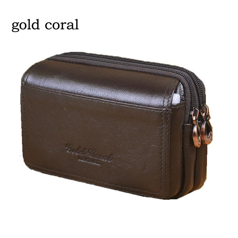 0cefd0f6f1be7 Gold Coral Famous Enuine Leather Men s Waist Packs IPhone 6 Plus Mobile  Phone Pouch Man Bag Casual Vintage Waist Bag Male Hiking Pack Kavu Backpack  From ...
