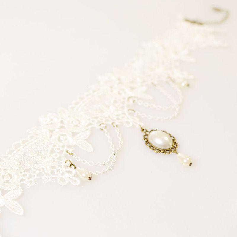 2018 Wholesale justierbare Längen-weiße Spitze-Brauthalskette mit Perlenbrosche und Quasten-Brautschmucksachen-Brautzusätzen freies Verschiffen
