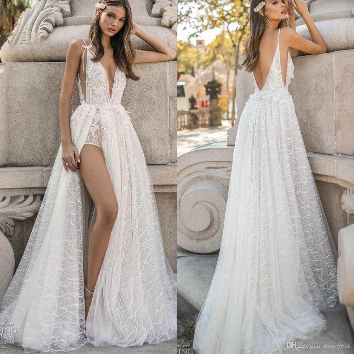 Discount 2019 Berta A Line Beach Wedding Dresses Sexy High Side Split Lace  Applique Backless Boho Wedding Dress Spaghetti V Neck Bridal Gowns Vintage  ... a622c1733ee0