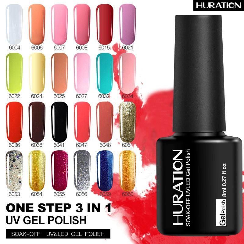 Huraiton One Step 3 In 1 Nail Gel Polish UV LED French Gel Lacquer ...