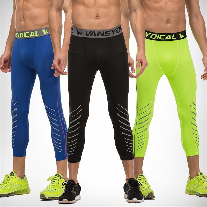 3481b48989bd88 Men's Compression Capri Leggings 3/4 Training pants Cool Three-quarter  Joggers Running Workout Gym Tights Sportswear