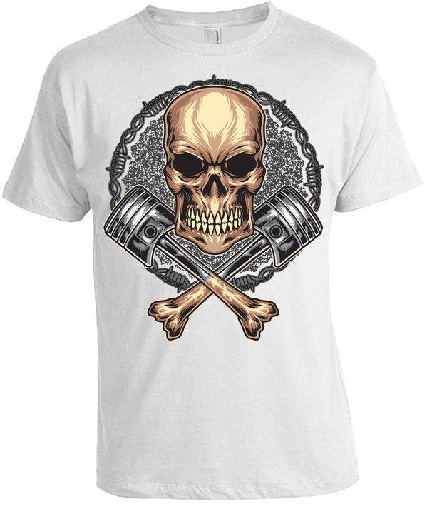 b4088230b8a2bb Totenkopf Kreuzknochen Kolben T Shirt Herren Damen Schädel Biker Metal Rock  Short Sleeve Plus Size T Shirt Quirky T Shirt Awesome T Shirts For Sale  From ...