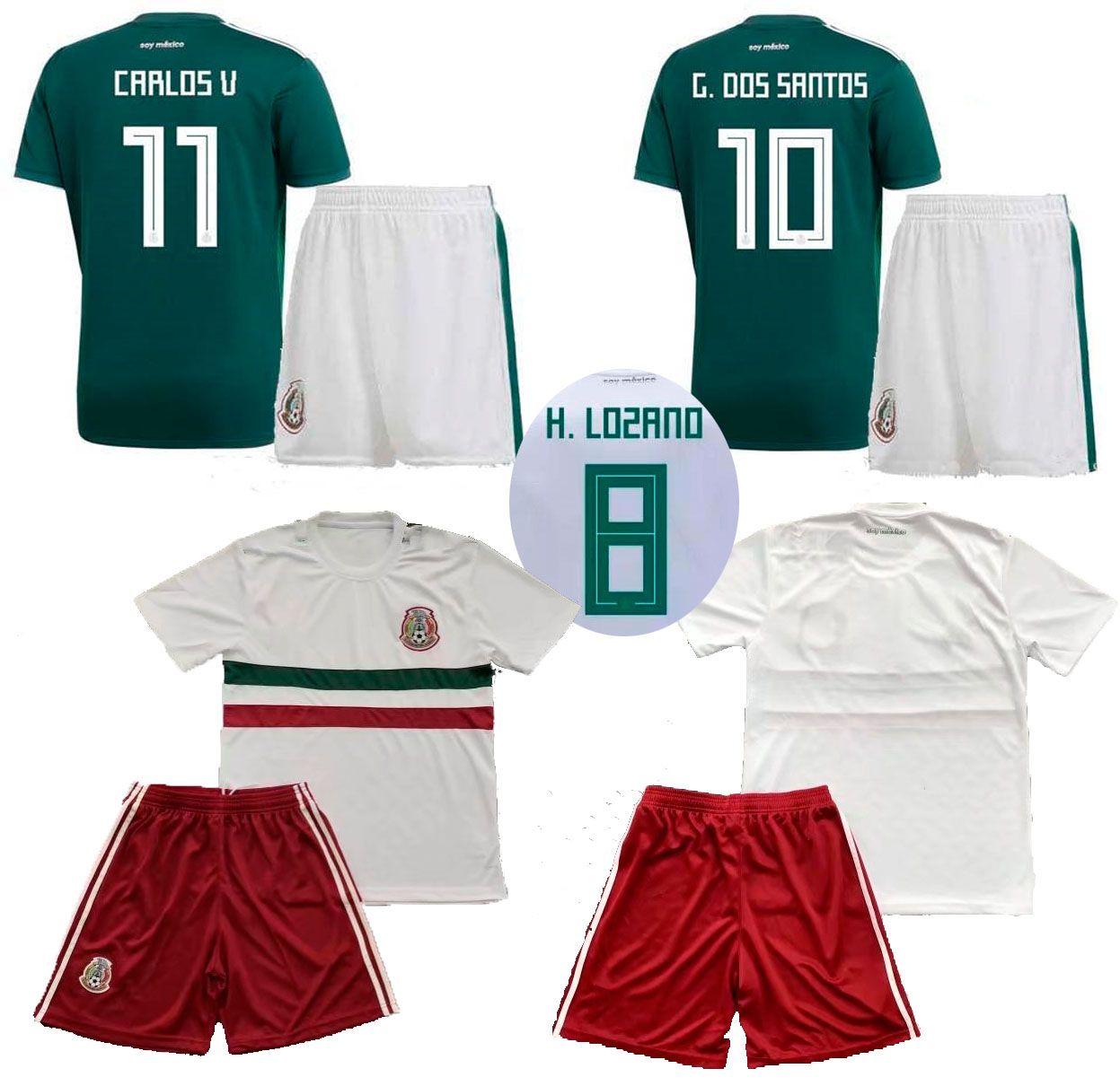8b896cbea34 2019 2018 Mexico Home Green Soccer Jerseys Pants Away White Thai Quality  Soccer Sets 18 19CHICHARITO R.JIMENEZ H. LOZANO Football Kits Uniforms From  ...