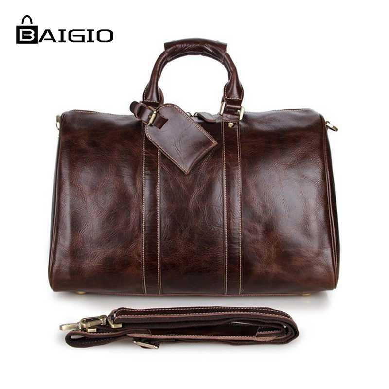 82ea6dbcc5f6 Baigio Mens Leather Travel Bags Overnight Duffle Luxury Brown Designer  Brand Hand Luggage Shoulder Bags Travel Bag Briefcases Garment Bags From  Mkfobia