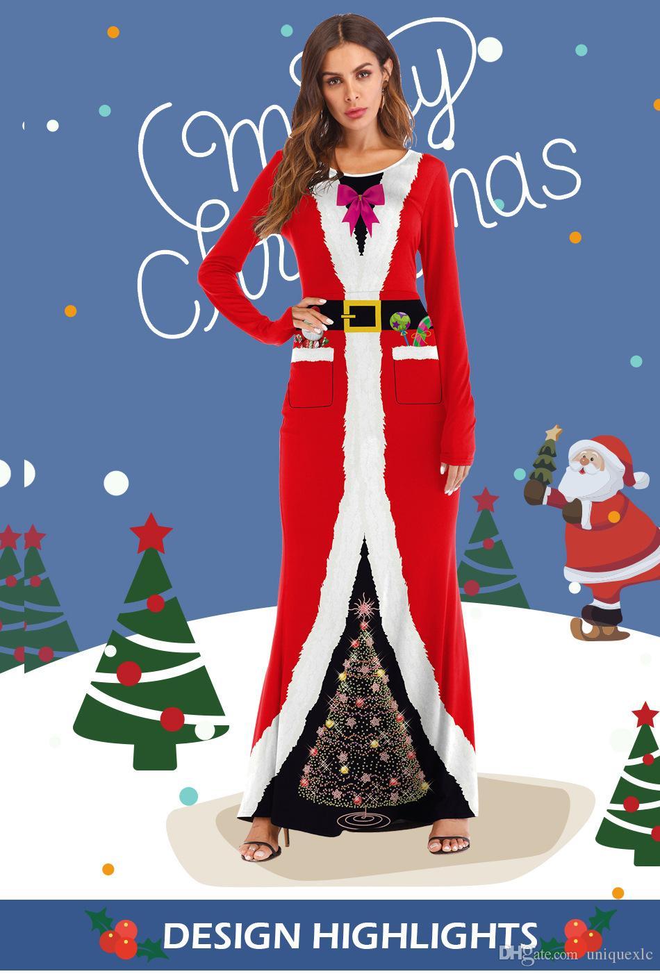 d1a3e9c0cd4 Christmas Costumes COS Dress Up Balls Santa Print Adult Dress One Colors  90% Cotton Drop Shipping Cosplay Christmas Costumes Adult Dress Online with  ...