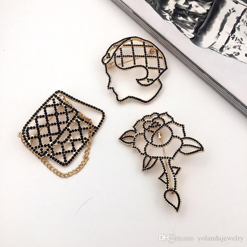 4 disegni le opzioni placcato oro giallo nero con strass Lady fronte insacca rosa spilla Pins le donne delle ragazze Nizza regalo NL-587