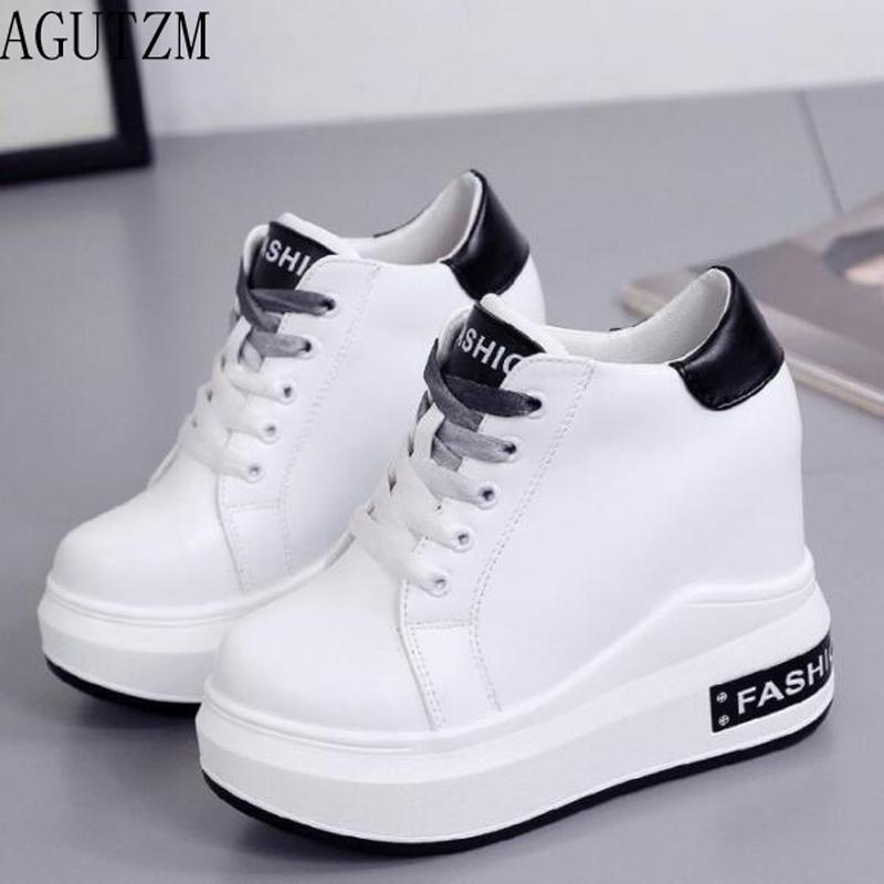 b7d8c578ba0d Wholesale 2018 Spring Autumn New Fashion Korean Solid Round Head Flat High  Top Women S Shoes Thick Soled Lace Up Casual Shoes V697 Vegan Shoes Comfort  Shoes ...