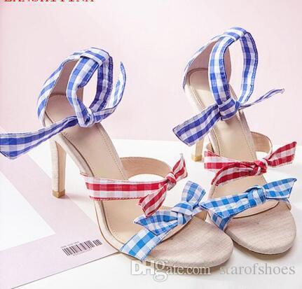 2018 Grid Print Sandalen Bowtie High Heels Mischfarbe Sommer Promi Schuhe Frauen Knöchel Knoten Sandalen Hochzeit Pumps
