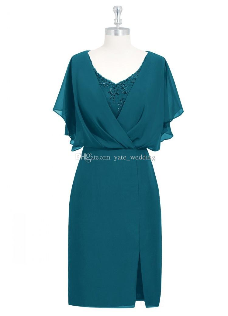 Turquoise Green Mother Of The Bride Dresses Elegant V Neck Appliques Sheath Knee Length Split Wedding Guest Dresses Mother Dresses