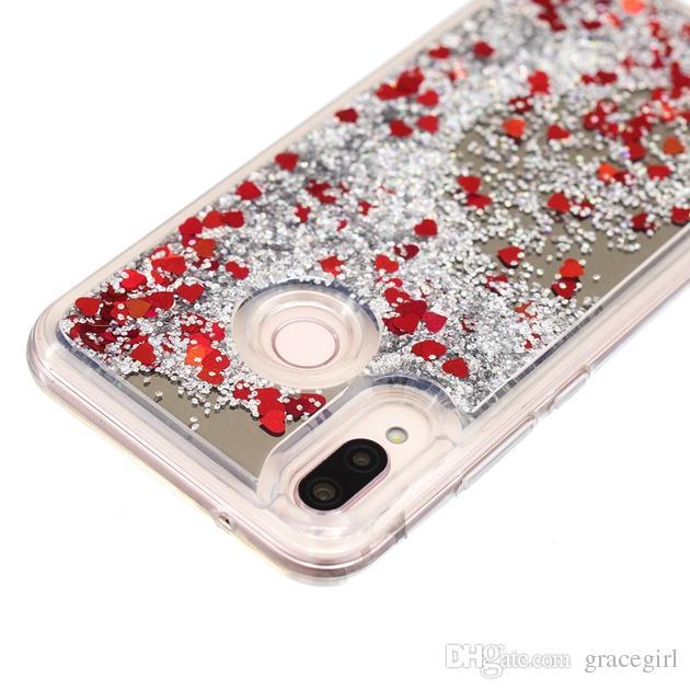 Spiegel-flüssiger bling Gitter TPU weicher Fall für Huawei P20 Lite P20 Pro Genießen Sie 7S P Smart Quicksand Shiny Liebes-Herz-Handy-Haut-Abdeckung