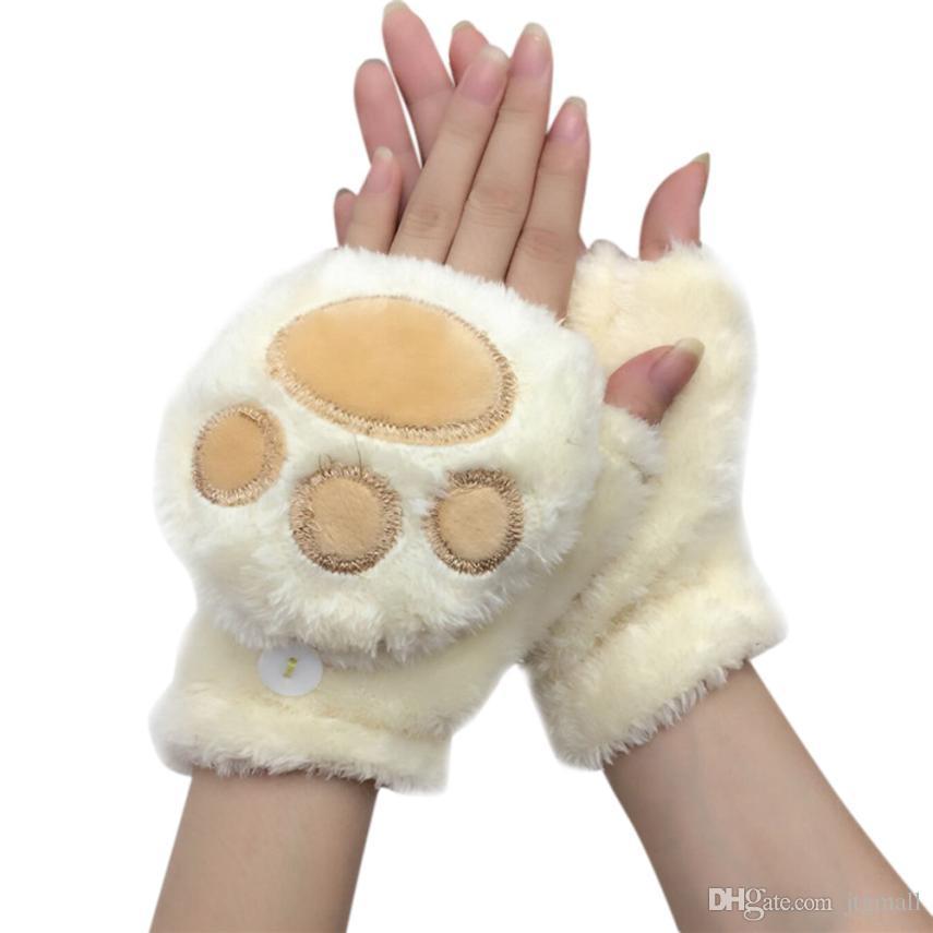 nuovi prezzi più bassi moda varietà di design Inverno belle donne orso gatto artiglio zampa guanto peluche guanti dito  corto mezze signore mezza copertura femminile