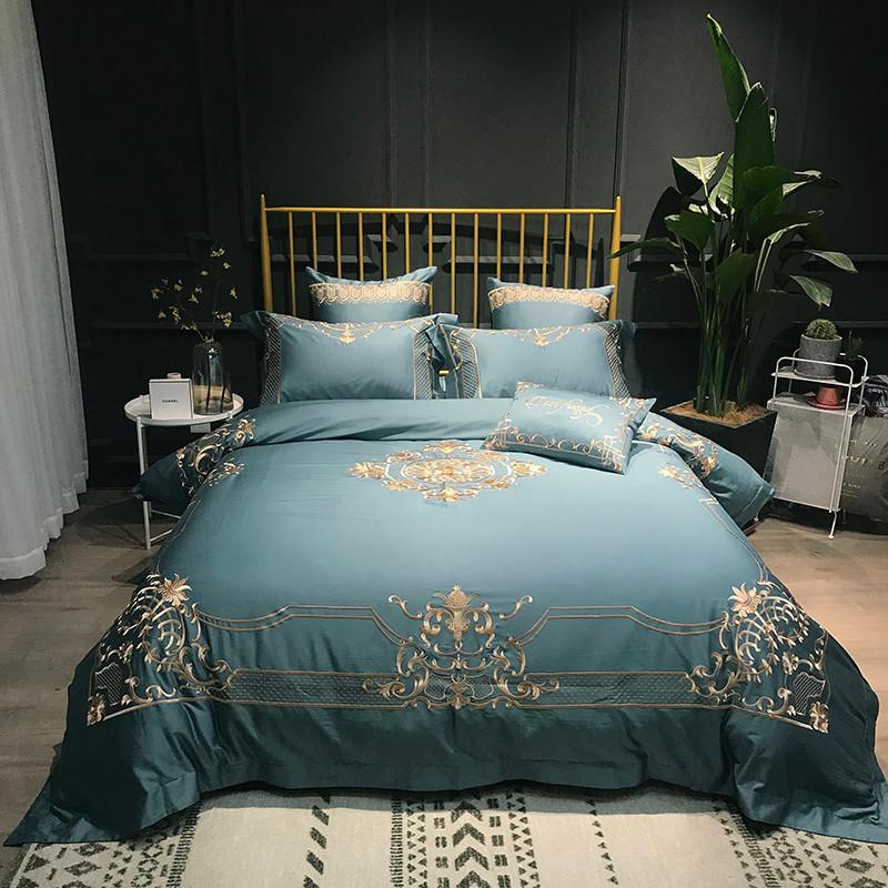 b0bd765f6e9c 80S Egyptian Cotton Red/Blue Luxury Golden Embroidery Bedding Set Duvet  Cover Bed Linen Bed Sheet Pillowcases Queen King Size Affordable Comforter  Sets ...