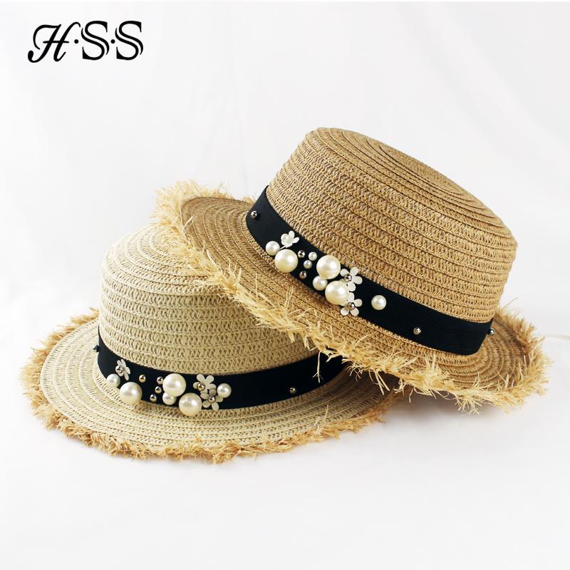 8fb64e7f60e HSS Hot Sale+Flat Top Straw Hat Summer Spring Women s Trip Caps Leisure  Pearl Beach Sun Hats M Letter Breathable Fashion Flower Summer Hat Straw  Cowboy Hats ...