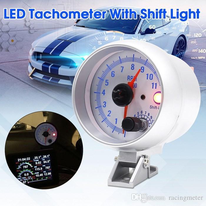 유니버셜 카 3.75 'LED 이동 라이트 타코미터 타코 게이지 미터 스텝 모터 0-11000 RPM