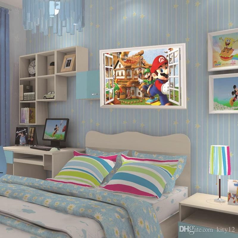 Wholesale 3D Window Cartoon Castle home decals wall sticker for kids room bedroom mural poster