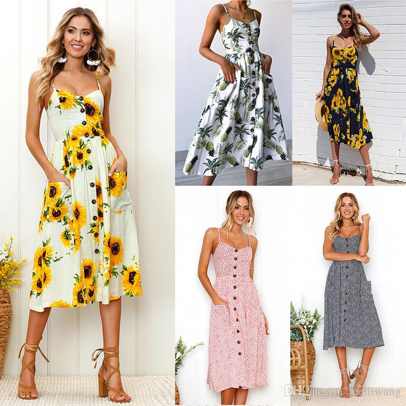 Sexy Summer Button Beach Boho Bohemian Dress Donna stampa floreale Polka Dots a righe Plus Size 3XL Red Midi Abiti