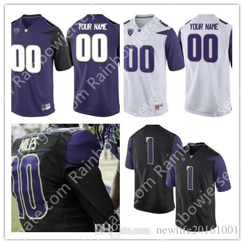 sale retailer 76448 d0549 Custom Washington Huskies College Football Limited Jerseys 8 Dante Pettis 9  Myles Gaskin #3 #1 Black Purple White Personalized Jerseys S-3XL