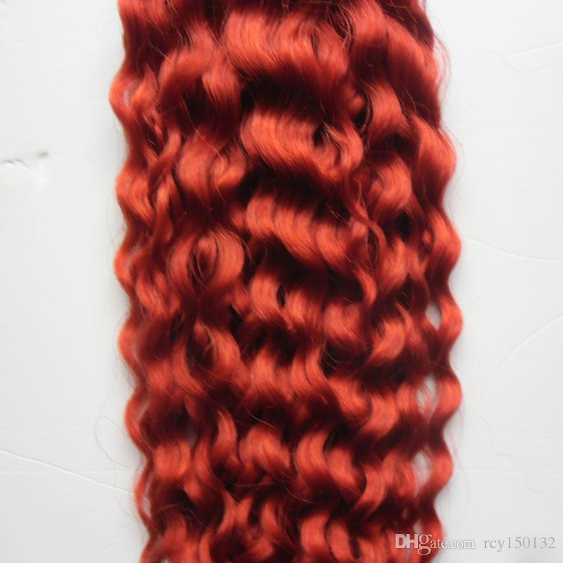 El pelo humano rojo de la armadura rizada ataba 100g / el pelo virginal rizado profundo brasileño rojo