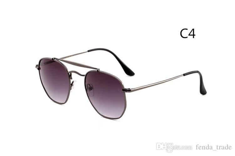 Brand New top quality Men's Sunglasses Unisex Style Metal fram UV400 gradient flash Lens vintage square Original 3648 MOQ=10