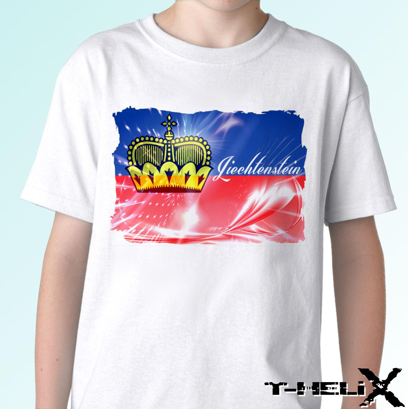 Liechtenstein Flag - White T Shirt Top Country Design - Mens Womens
