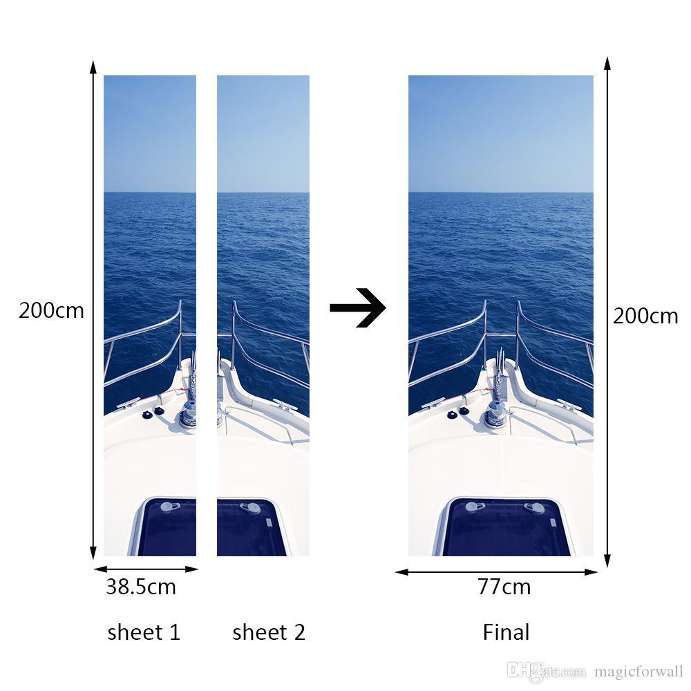 3D Simulation Door Sticker Motor Yacht Sea Decal Living Room Bedroom Creative Wallpaper Self-adhesive Renovate Waterproof Hanging Poster
