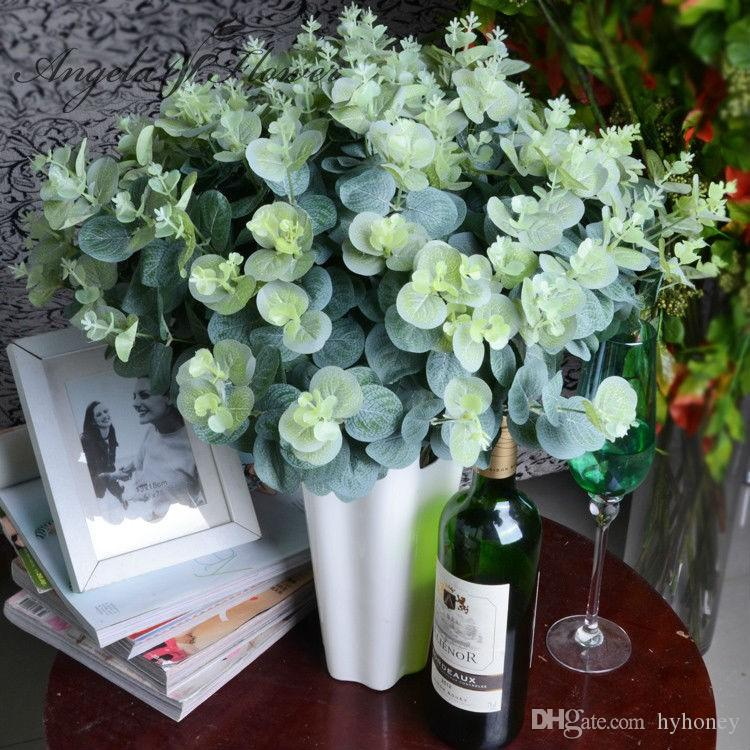 2018 3 BouquetArtificial Eucalyptus Leaf Green Plant Branches Flower ...