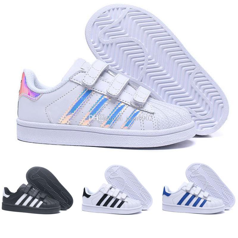 4bb412bfc63 Compre 2018 Adidas Superstar Crianças Superstar Sapatos Original Ouro  Branco Do Bebê Crianças Superstars Tênis Originais Super Star Meninas  Meninos Sports ...
