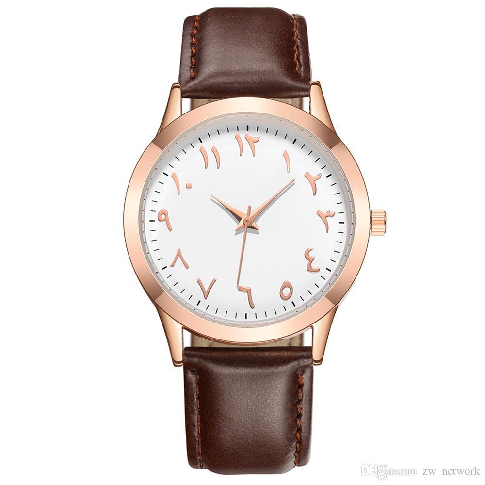 Sıcak Arapça numarası erkekler kadınlar için Saatler Vintage Deri Kuvars Elbise İzle Saat Yeni Lüks Hakiki Deri Kayış Bilek saatler