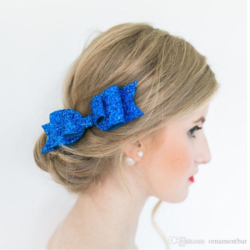 New Fashion Women Hair Clips Lady Girls Sequin Big Bowknot Barrette Hairpin Hair Bow Accessories