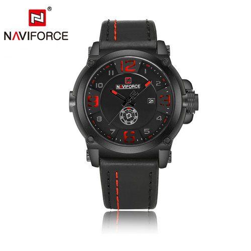 c388b7ae108 Compre NAVIFORCE 9099 Top Marca De Luxo Homens Relógio De Quartzo Esporte  Moda Casual Homens Relógios Data Semana Relógio Masculino À Prova D  Água  De ...