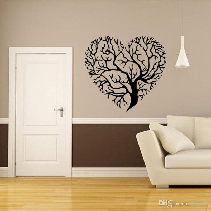 Heart Shaped Tree Wall Stickers Home Decor Living Room Removable Vinyl Wall Decals Bedroom Decoration Wall Art And Stickers Wall Art Applique From Kity12 4 73 Dhgate Com