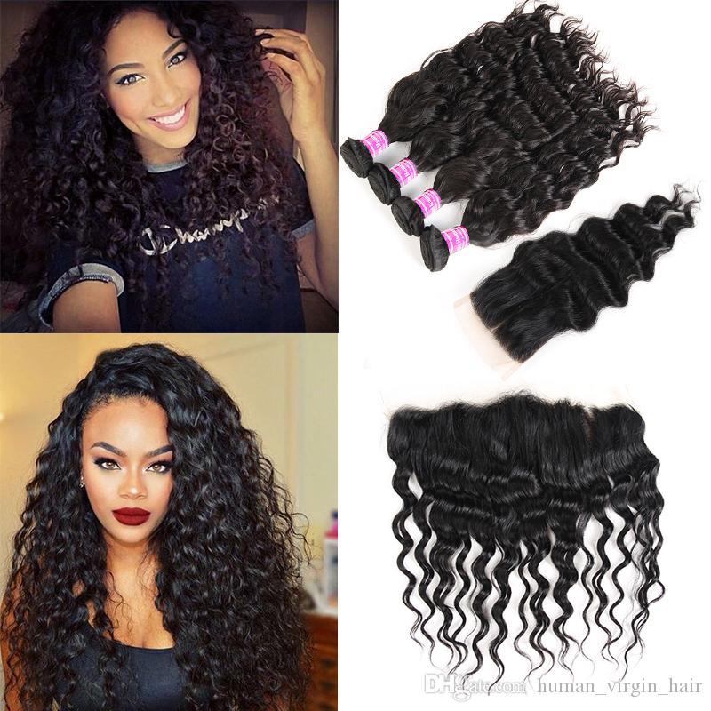 Wholesale Mongolian Virgin Hair Vendors Water Wave Human Hair Weave Bundles  With Closure Frontal 8A Brazilian Virgin Hair Extensions Wefts