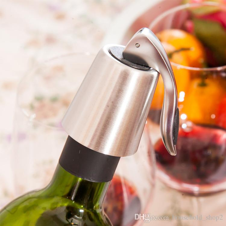 Bar Sealed wine stoppers Stainless Steel wine Bottle Stopper fresh keeping Saver Preserver Champagne Closures Lids Caps Bar Tools