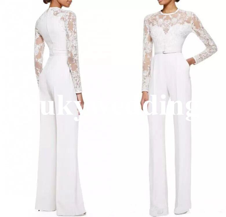 New Arrival Lace Elie Saab Mother Of The Bride Pant Suits With Long Sleeves Appliques Women Formal Evening Wear Custom Made Floor Length