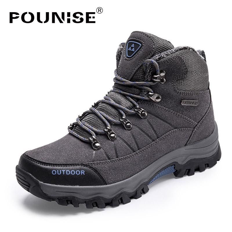 New Hot Sale Men Boots Warm Short Plush Lace Up Men Shoes Winter Sneakers Work Shoes Waterproof Climbing Big Sizes 39-46