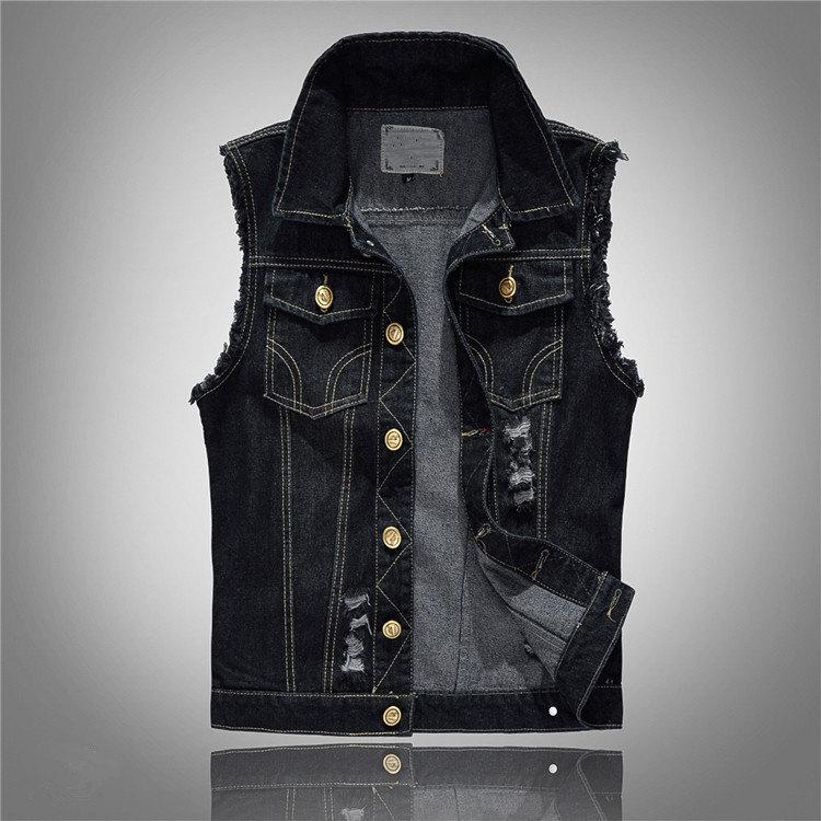 ecf5cefd457 2019 Plus Size 6XL Chubby Men Denim Vests Men S Sleeveless Jackets Jeans Male  Vintage Casual Slim Fit Vest Black Waistcoat Gilet From Edward03