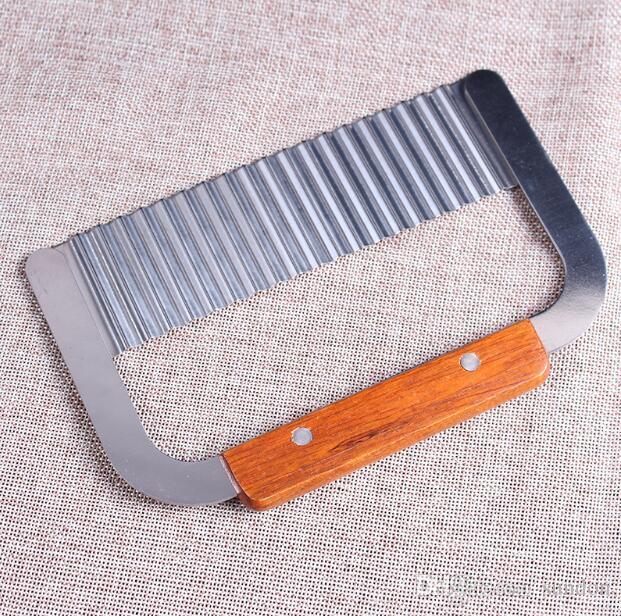 Hardwood Handle Stainless Steel Crinkle Wax Vegetable Potato Soap Cutter Wavy Slicer Chopper