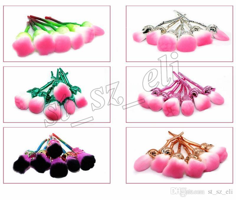 Rose Flower Make-up Puder Foundation Blush Pinsel Set 6-teilig Weiche Rose Flower Make-up Pinsel Set 6 Arten