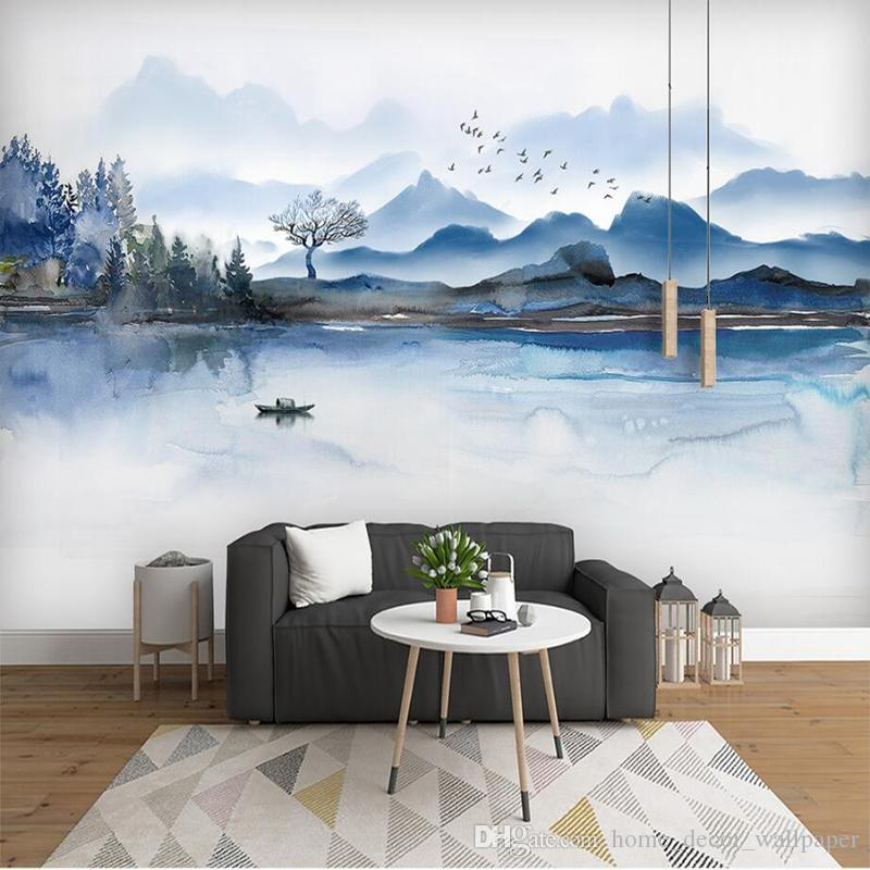 Custom Wall Papers Home Decor 3d Stereoscopic Mountain Hand Painted Chinese Ink Painting Minimalism Wall Paper Modern Bedroom Wall For Livin